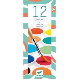 Djeco Gouache festék - 12 klasszikus szín - 12 couleurs gouache